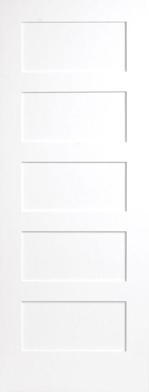 5 Panel Flat Mission Shaker Primed Stile & Rail Solid Core Wood Doors - Prehung