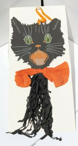 Antique Halloween Heavy Paper and Crepe Paper Black Cat Decoration