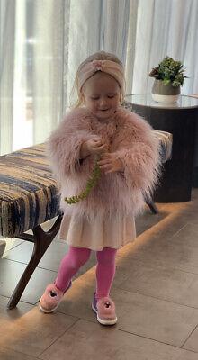 Monnalisa Faux Fur Jacket Bow Details Size 4 Years