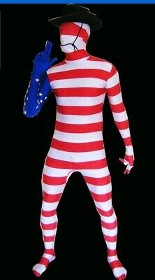 American USA Flag Morph Suit Large NEW