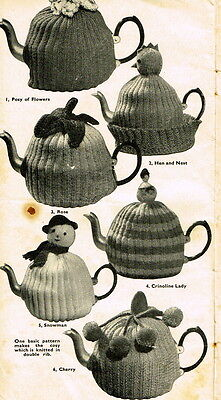 Vintage Visage repro 1940s knitting pattern-6 tea cosies for odds & ends of yarn