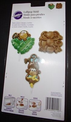 Wilton Monkey Lolli-pop plastic chocolate Candy Molds #2115-2100