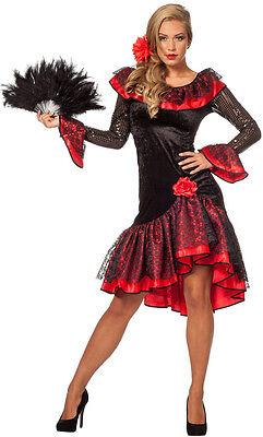Lucia Spanische Flamenco Tänzerin Kostüm NEU - Damen Karneval Fasching Verkleidu