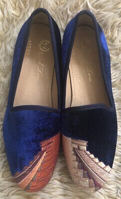 Del Toro Pyramid Flats 9 Anthropologie Velvet Blue Smoking Slipper Shoes