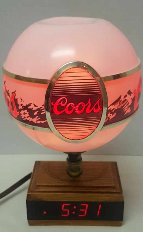 "Vintage Adolph Coors 10"" Lighted Globe & LED Clock Beer Sign Rare   1980's"
