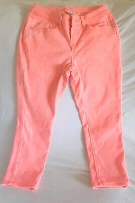 Womens Juniors NO BOUNDARIES Capri Skinny Stretch Jeans Orange Coral Size 7 -