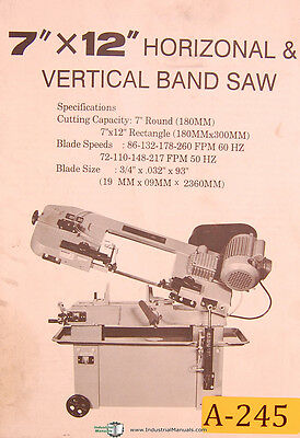 Acra 7 X 12 Horizontal Vertical Band Saw Operations Install Parts Manual