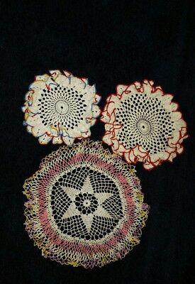 3 Vintage Hand Made Crochet Doilies #2829