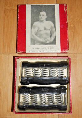 HARRY BROOM SPRING GRIP WOODEN DUMBELLS ANTIQUE RARE BOXED C. 1920's (723)