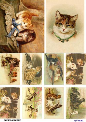 Rice paper decoupage 160352 napkin vintage cat kitty supplies craft scrapbooking