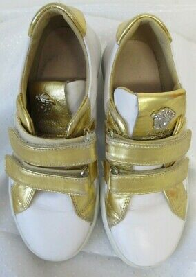 young versace girls sneakers white/gold colour-size 33/ UK 1