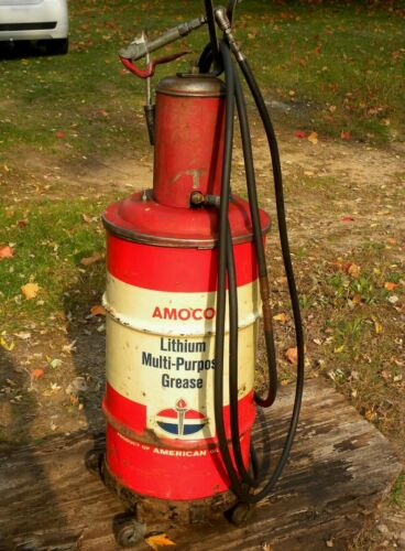 ORIGINAL LINCOLN SYSTEM ROLL CART SERVICE STATION SHOP AIR OP AMOCO GREASE PUMP