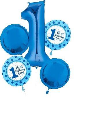 Anagram 1 FIRST BIRTHDAY BOY Blue Foil Balloon Bouquet](First Birthday)