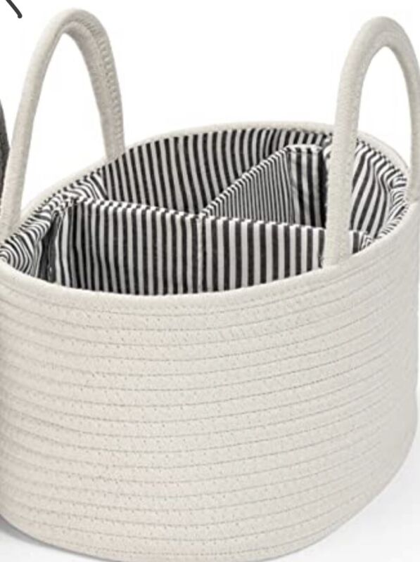 Baby Diaper Caddy Organizer Rope Nursery Storage Bin Cotton Portable Basket