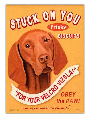 Retro Dogs Refrigerator Magnets - Vizsla Biscuits - Vintage Advertising Art