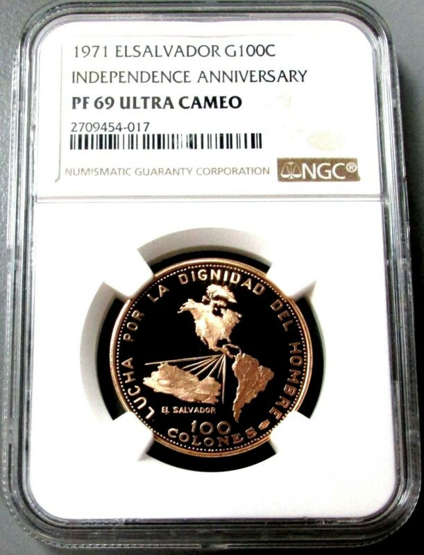 1971 GOLD EL SALVADOR NGC PROOF 69 ULTRA CAMEO 100 COLONES INDEPENDENCE ANNIV