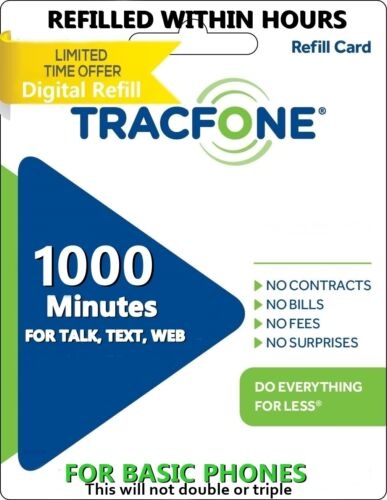 TracFone 1000 Minutes For Basic Phones Added today for you