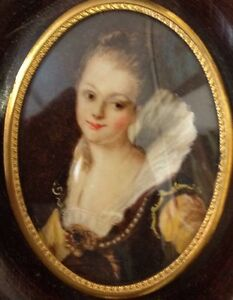 ancienne peinture miniature portrait femme dame de qualite ebay. Black Bedroom Furniture Sets. Home Design Ideas
