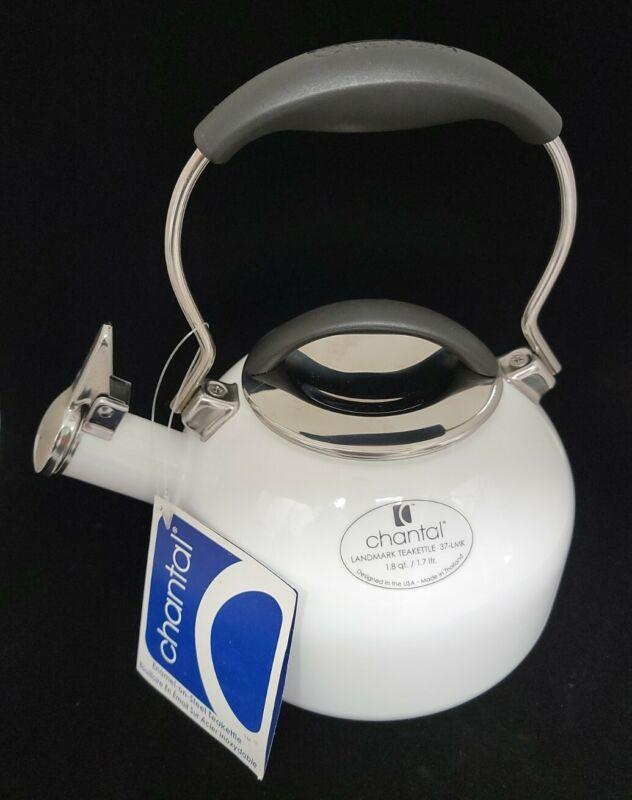 NEW! CHANTAL LANDMARK WHISTLING TEA KETTLE WHITE 1.8 Qt Enamel-On-Steel