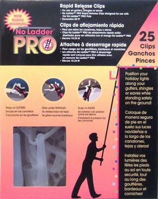 PRO NO LADDER 25 RAPID RELEASE CLIPS OUTDOOR  LIGHTS - GUTTER / SHINGLES / EAVES