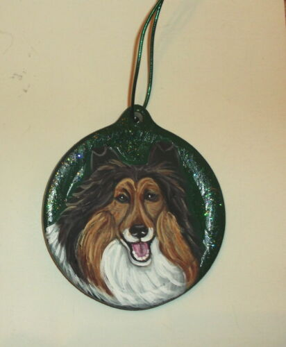 Collie Dog Christmas Ornament Decoration Hand Painted Ceramic