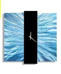 Metal Wall Art Clock Light Blue Black Wall Sculpture Home Decor Jon Allen