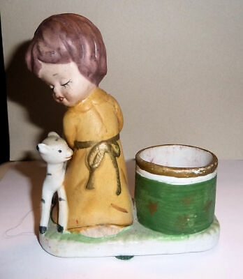 Figurine Ceramic GIRL & CAT 1970s LITTLE LUVKINS Hand Painted Toothpick Holder
