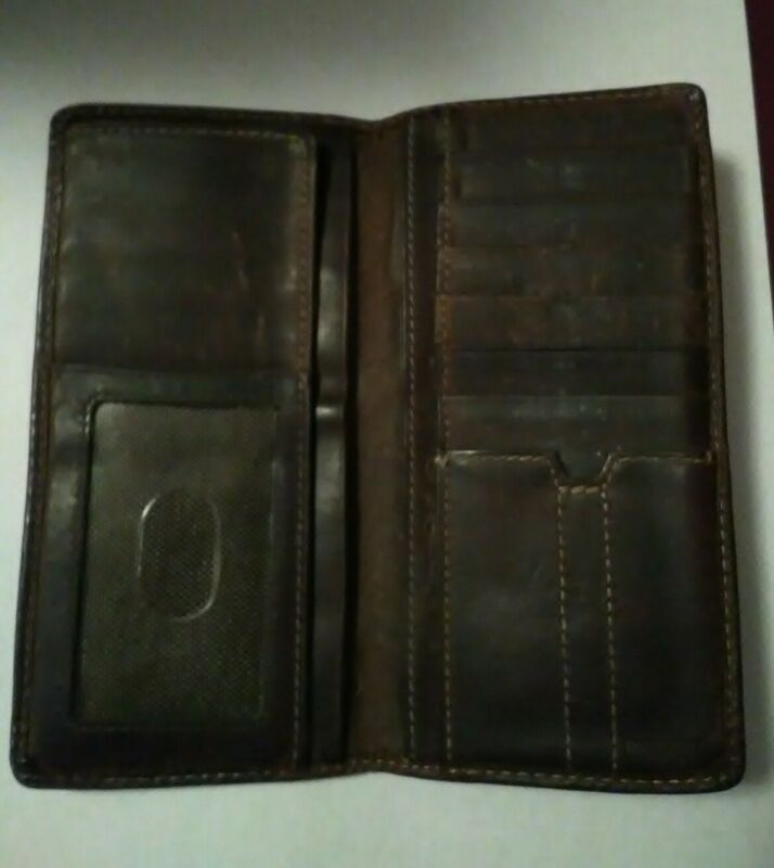 Vintage Mens Fossil Long Brown Leather Bifold Wallet Cash / CC / Drivers Lic