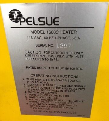 Pelsue Model 1660c Heater 115 V.a.c. 60 Hz 1 Phase 5.6 Amps