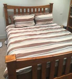Lovely SOLID PINE Slat Base QUEEN BED + MATTRESS Deliver Burwood East Whitehorse Area Preview