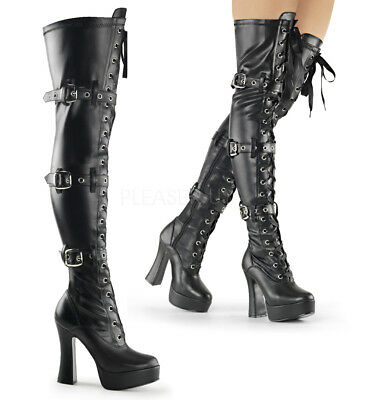 Pleaser ELECTRA-3028 Women's Black Faux Leather Matte Heels Platform Thigh Boots (Pleasers Boots)