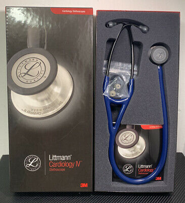 3m Littmann 6168 Cardiology Iv Stethoscope Navy Blue Tube Black Chestpiece New