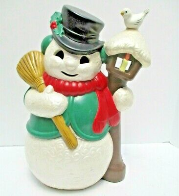 """Vintage Ceramic Snowman with Broom at Lamp Post Bird Glenview Mold Over 12"""" Tall"""