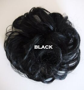 Posh Black Brown Hair Extension Piece Pony Tail Hair Piece Scrunchie Wrap Bun BN