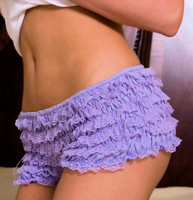 Ruffled Boyshorts Halloween (Sexy Forplay Lilac Lace trim Girli bloomer style low rise Boy cut Panty NWTS)