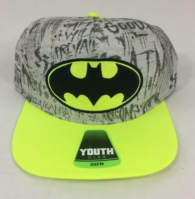 Batman Hat Cap Youth Boy Girl Neon Snap Back Grey NWT](Girl Batman)