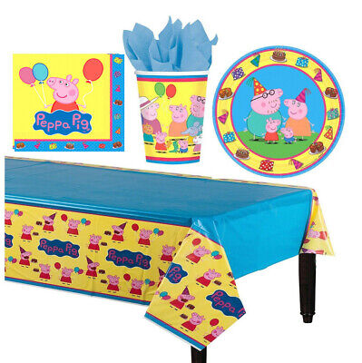 Peppa Pig Kids Birthday Party Pack 33pc Table Cover Plates Cup Napkin ~ 8 - Pig Party Plates
