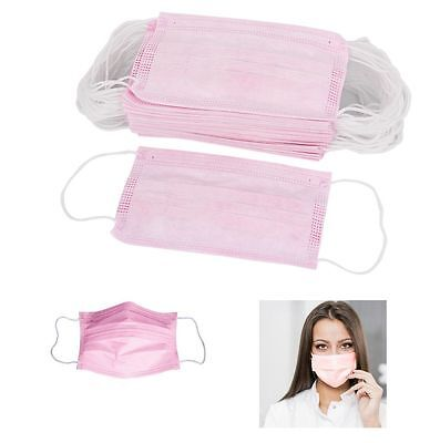 New 100pcs Disposable Surgical Face Mask Anti-dust Ear Loop Mouth Mask Pink