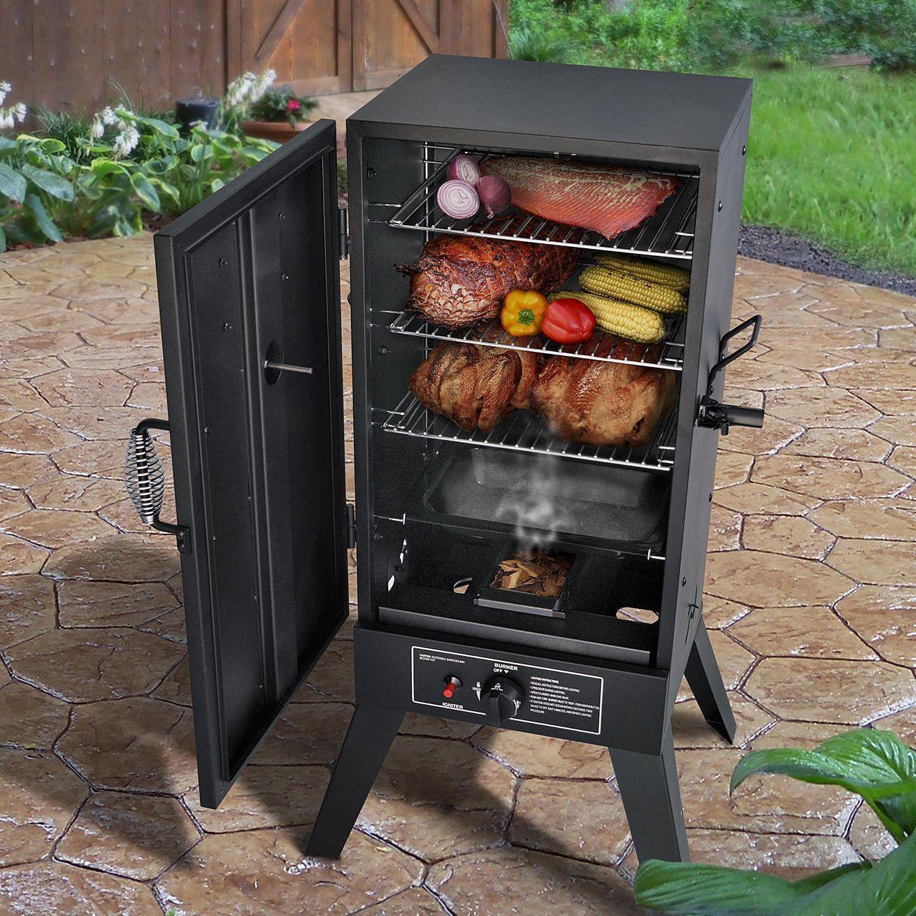 gas smoker grill lp propane vertical outdoor