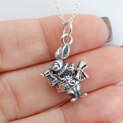 White Rabbit Charm Necklace - 925 Sterling Silver Alice in Wonderland Character