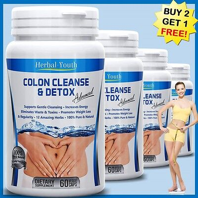 COLON CLEANSE DETOX CAPSULES ORGANIC HERBS FLUSH POUNDS WEIG