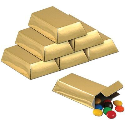 Kids Party Favor 12 Foil Gold Bars Candy Box Pirate Western Novelty Goodies Gift