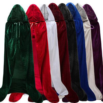 Halloween Hooded Velvet Cloak Cape Medieval Costume Witch Wicca Vampire Robe - Halloween Vampire Costume