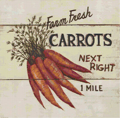 - Farm Fresh Carrots Vintage Country Sign DIGITAL Counted Cross-Stitch Pattern