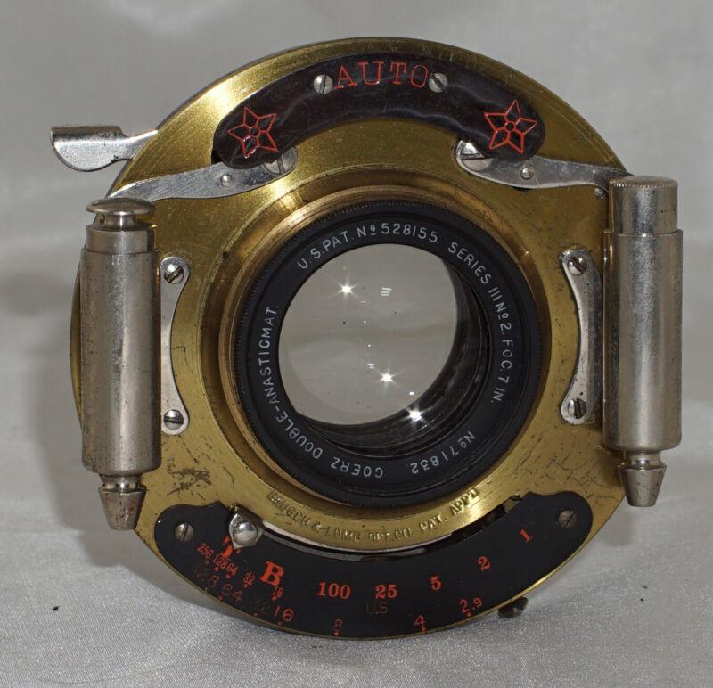 Goerz Dagor Series III No. 2 Foc 7 Inch Lens in Auto Brass Shutter