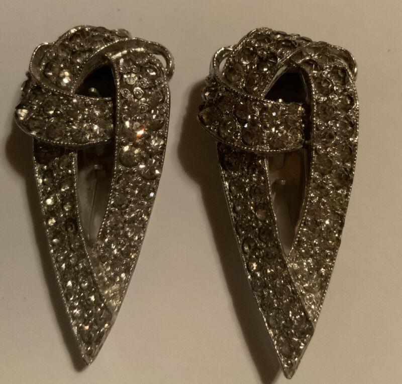 Pair Of Art Deco Rhinestone Fur Clips