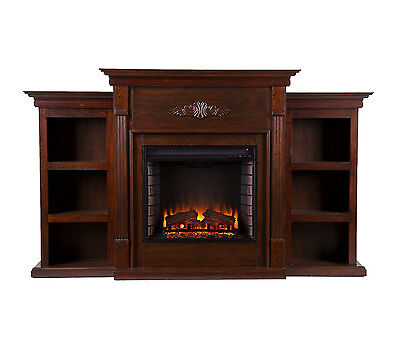 Southern Enterprises Tennyson Espresso Electric Fuel Fireplace w/ Bookcases NEW
