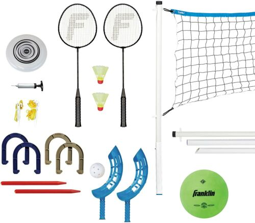 Franklin Sports Fun 5 Combo Set - Badminton, Volleyball, Flip Toss, Flying Di...
