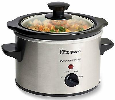 Elite Gourmet MST-250XS Electric Slow Cooker, 1.5Qt Capacity, Stainless Steel.
