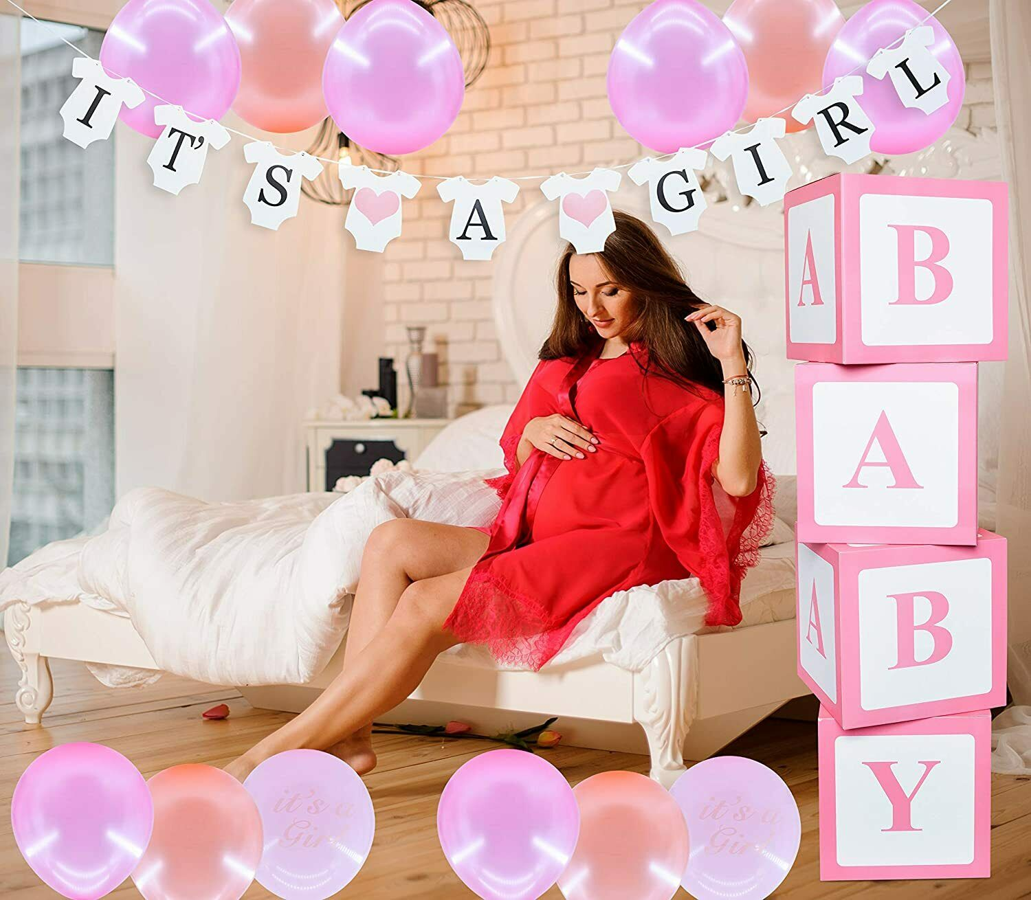 It's a Girl Baby Shower Decoration Pink for Girls Its a Girl Decoration Elegant Greeting Cards & Party Supply
